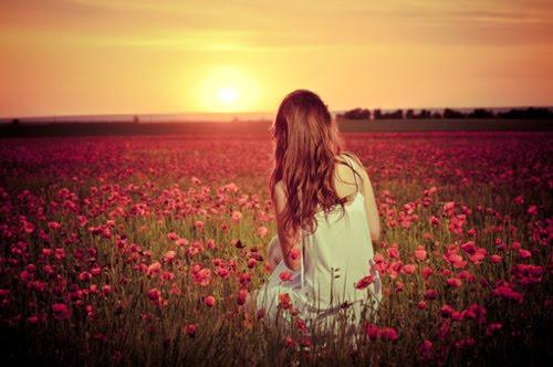 campo de flores, garota